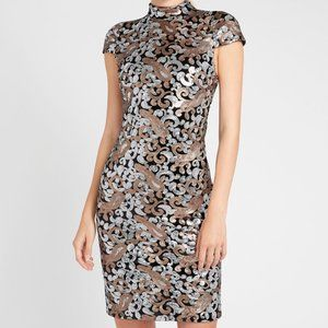 Alice + Olivia Inka Sequin Midi Dress